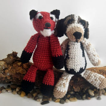 fox and a hound crochet dolls, fiber art doll, woodland creature, beagle, amigurumi, scented, custom, cotton, soft