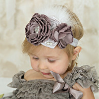 Charcoal Gray & Silver Clustered Layered Flowers, Feathers, & Pearls Headband