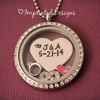 Floating Charm Locket - Couple Locket - Wedding Necklace - Birthstone Locket - Anniversary Gift