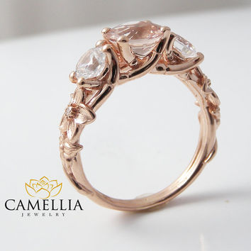 3 stone ring 14K Rose Gold 3 Stone Engagement Ring Rose Gold Morganite Three Stone Ring