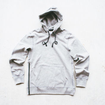 Reigning Champ Knit Heavyweight Pullover Hoodie w/ side zip - H.Grey