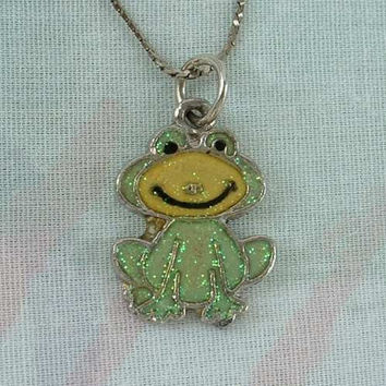 Iridescent Smiling Green Frog Pendant Necklace Figural Jewelry