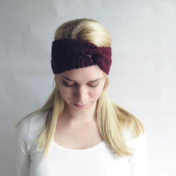 Wine Twist Turban Headband Crochet Turban Twist Headwrap Ear Warmer in Red Wine Burgundy Oxblood – Women's Fall Fashion Accessories