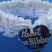 Pabst Blue Ribbon Unique Wedding Garter by KatieAnnCreations