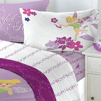 4Pc Disney Tinkerbell Powder Purple Bedding Full Sheet Set