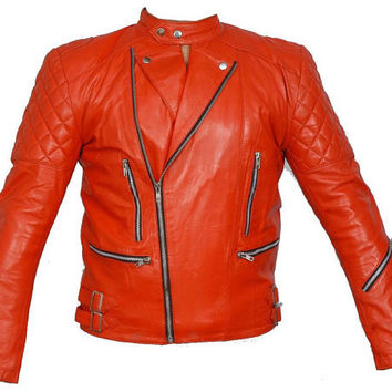 Handmade men Red vintage jacket color Leather Jacket with diffrent style four front flap pockets