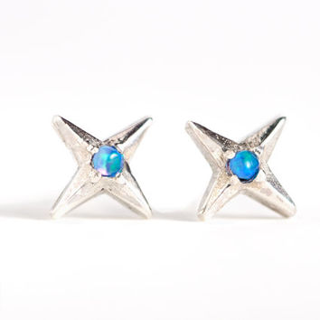 North Star Stud Earrings Sterling Silver with Opal Stone Bohemian Jewelry - CST006SS OP36