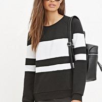 Mesh Panel-Striped Sweatshirt