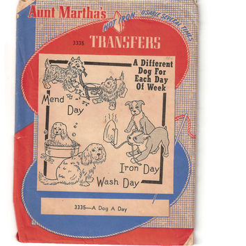 Vintage 1940s Aunt Marthas Hot Iron Transfer Pattern 3335, A Different Dog For Each Day of the Week, Tea Towel Design,Original, Dog Lovers