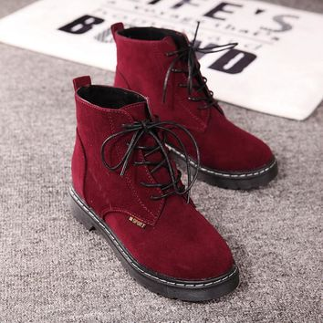 Casual On Sale Comfort Hot Sale Hot Deal Autumn England Style Stylish With Heel High-top Shoes Ladies Suede Sneakers [9432938570]