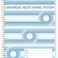"""BookFactory® Universal Note Taking System (Cornell Notes) / NoteTaking Notebook - 120 Pages, 8 1/2"""" x 11"""" - Wire-O (LOG-120-7CW-A(Universal-Note))"""