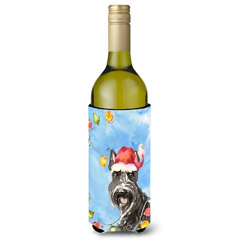 Christmas Lights Scottish Terrier Wine Bottle Beverage Insulator Hugger CK2491LITERK