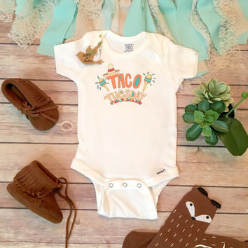 Taco Tuesday Onesuit®, Baby Shower Gift, Unisex Baby Clothes, Baby Boy Clothes, Funny Onesuits, Taco Onesuit, Cute Baby Onesuits, Hipster Baby