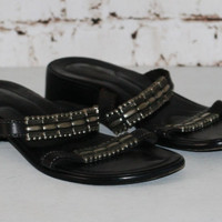 90s sandals black leather 8 6 39 tribal  Grunge boho Festival Goth hippie flat chunky heel double strap slides slip on Sesto Meucci Italy