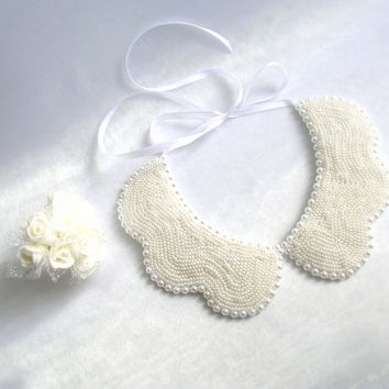 Handmade, white colored pearl ,peterpan collar necklace,wedding necklace