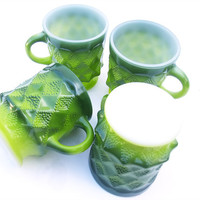 Set of Four Vintage Fire King Anchor Hocking Unused Milk Glass Mugs Kimberly Coffee Cups Quilted Green Dragon Scale Mug Set