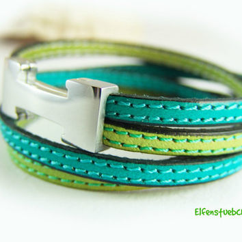 Wrap bracelet leather bracelet women kiwi turquoise stainless steel magnetic clasp silver -  women's bracelet leather  spring celebrations
