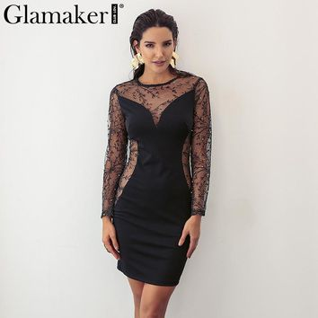 Glamaker Elegant sheer mesh women dress Sexy black pearl embroidery bodycon summer dress Evening party club dress vestidos 2018