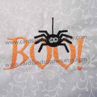 Halloween Spider - BOO! - Halloween - Machine Embroidery Design - INSTANT DOWNLOAD - 4x4 and 5x7 - (7 formats)