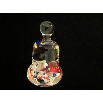 Maude And Bob St Clair Glass Paperweight Bell Shaped Floral Decoration