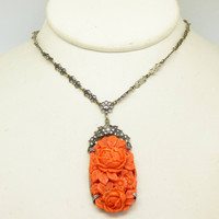 Fine Art Deco Sterling Coral Glass Marcasite Necklace with a Floral Bow Chain