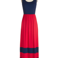 ModCloth Nautical Long Sleeveless Maxi Harbor Holiday Dress