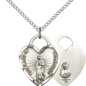 925 Sterling Silver Our Lady Guadalupe Virgin Mary Heart Medal Necklace Pendant 617759121049