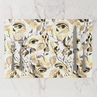 Utopian Sepia Surreal Eyes Design Placemat