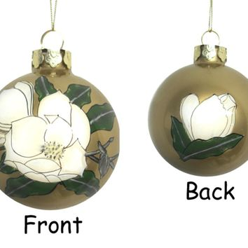 "3.25"" Gardenia Flower Hand Blown Glass Ball Christmas Ornament"