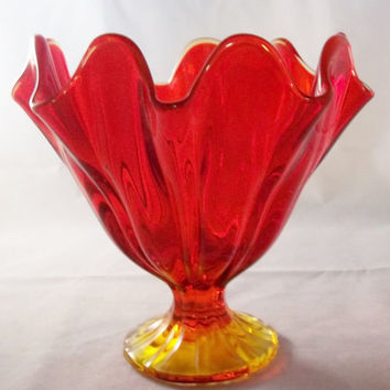 Vintage 1960's mid centruy modern red and yellow Viking Art Glass Ruffled Pedestal Bowl True Amberina Retro Ruffled Art Glass Candy Dish