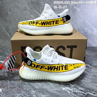 DCCK2 A782 Off White Adidas Yeezy Boost 350 Saigon Knit Running Shoes White Yellow