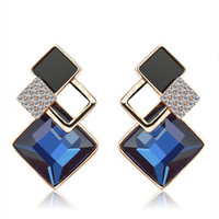 New Brand Charm Design Korean Jewelry Hypoallergenic Navy Blue Imitate Diamond Crystal Statement Earrings For Women XY-E511