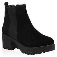 Eden Chunky Ankle Boots in Black Faux Suede