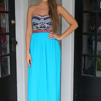 Myan Goddesss Maxi Dress - Black and Turquoise - Hazel & Olive