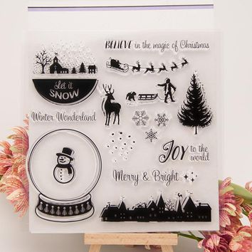 Christmas Winter Transparent Clear Silicone Stamp Set for DIY Scrapbooking/Photo Album Card Making Decorative Clear Stamp H10