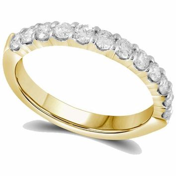 14kt Yellow Gold Women's Round Diamond Single Row Wedding Band 1-2 Cttw - FREE Shipping (US/CAN)