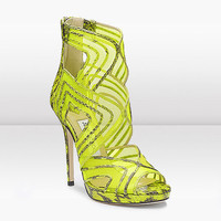 Jimmy Choo Neon Mesh and Elaphe Snake Platform Sandal - $235.00