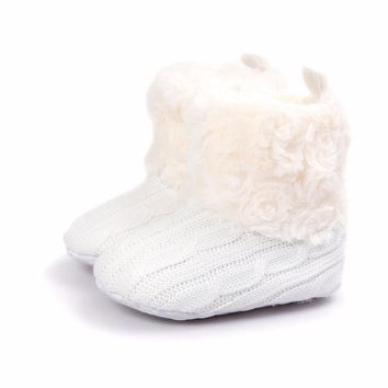 Keep Warm Fluffy Baby Boots For Winter Slip-On Flat With Round Toe Baby Girl Boots Handmade High Quality Baby
