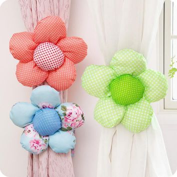 1pcs Flower Curtain Tieback Buckle Clamp Hook Fastener For Home Decor 4 Colors