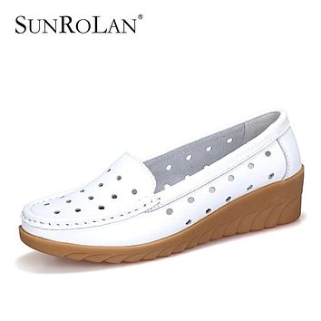 SUNROLAN Plus Size 10 Summer Women Flat Platform Shoes Woman White Nursing Shoes Cut-out Loafers Slip on Moccasins Shoes XYL1368