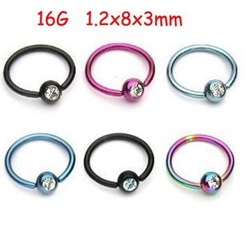 SaYao 2Piece Colorful Stainless Steel Captive Hoop Rings CBR Eyebrow Tragus Earrings BCR Nose Closure Crystal Body Jewelry Helix