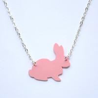 Pastel Pink Handmade Bunny Rabbit necklace, designed and carefully cut by hand- in black and pastel colours for spring  and easter time