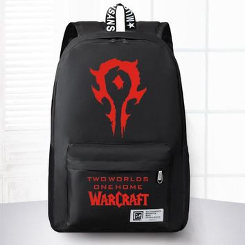 New Fashion World Of Warcraft Canvas Backpack Boy Girl School Bags For Teenagers Men Women WOW Game Laptop Backpack Travel Bag