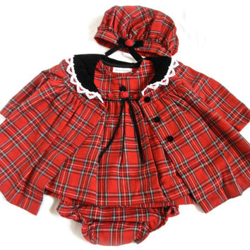 Plaid Baby Coat Dress Hat Bloomers Outfit 3 to 6 Months
