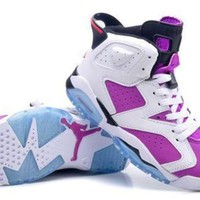 Hot Air Jordan 6 Women Shoes Oero White Purple From China