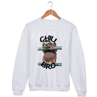 Chill Bro Sloth Sweater sweatshirt unisex adults size S-2XL