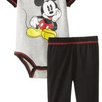 Disney Baby-Boys' Newborn Mickey Mouse Bodysuit and Pant Set