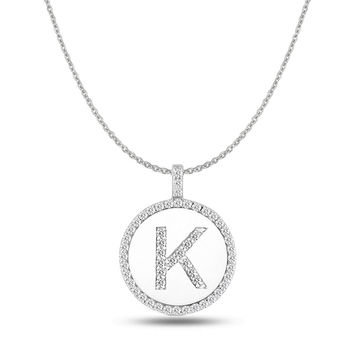 """K"" Diamond Initial  14K White Gold Disk Pendant (0.54ct)"