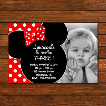 Mickey and Minnie Mouse Baby Girl Invitation Invitation