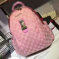 GUCCI Pink Casual Shoulder SchoolBag Satchel Handbag Backpack bag H-AGG-CZDL